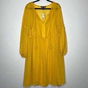 Love & Legend Swiss Dot Mustard Boho Flowy Dress